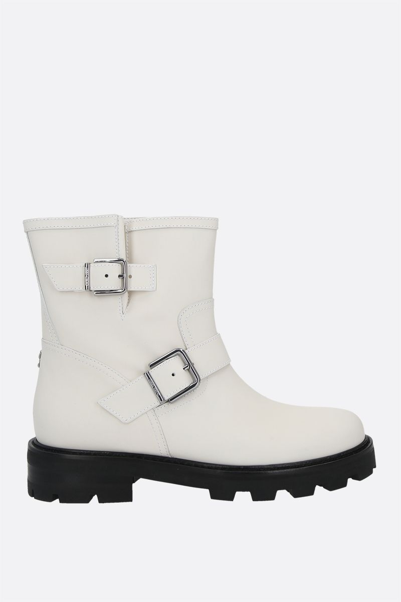JIMMY CHOO: Youth II rubberized leather combat boots Color White_1