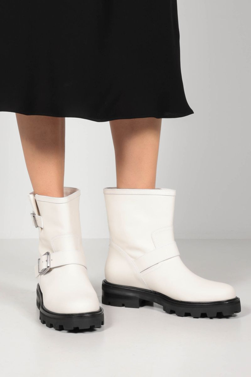 JIMMY CHOO: Youth II rubberized leather combat boots Color White_2