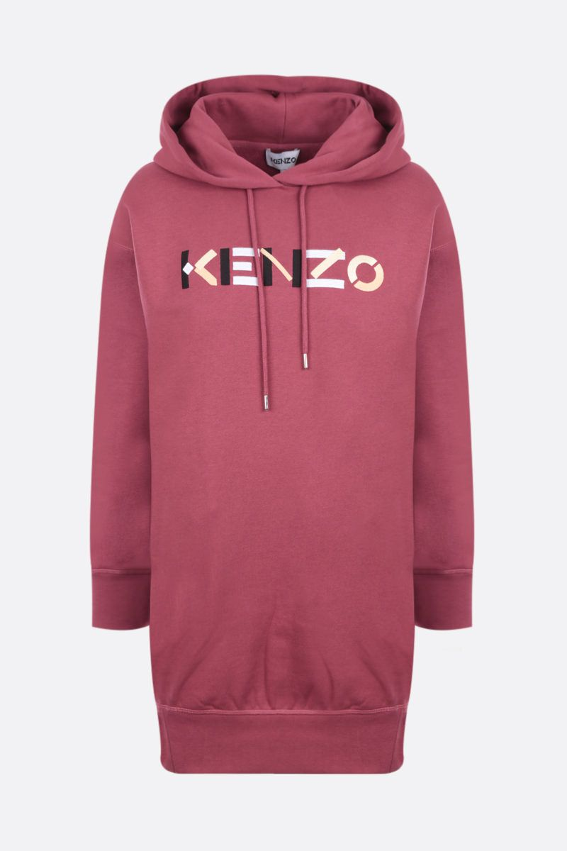 KENZO: logo embroidered cotton sweater dress Color Red_1