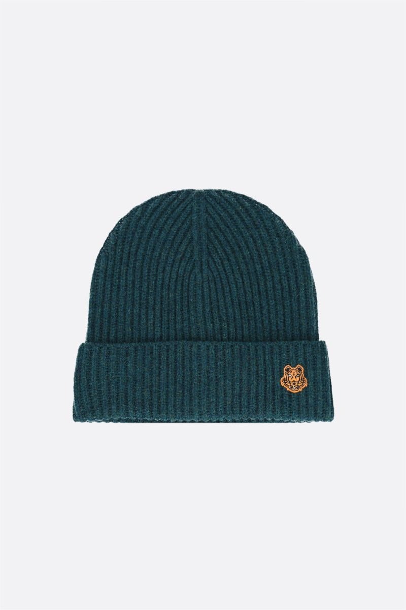 KENZO: Tiger Crest ribbed wool beanie Color Blue_1