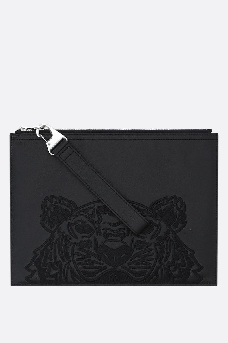 KENZO: Tiger large smooth leather clutch Color Black_1
