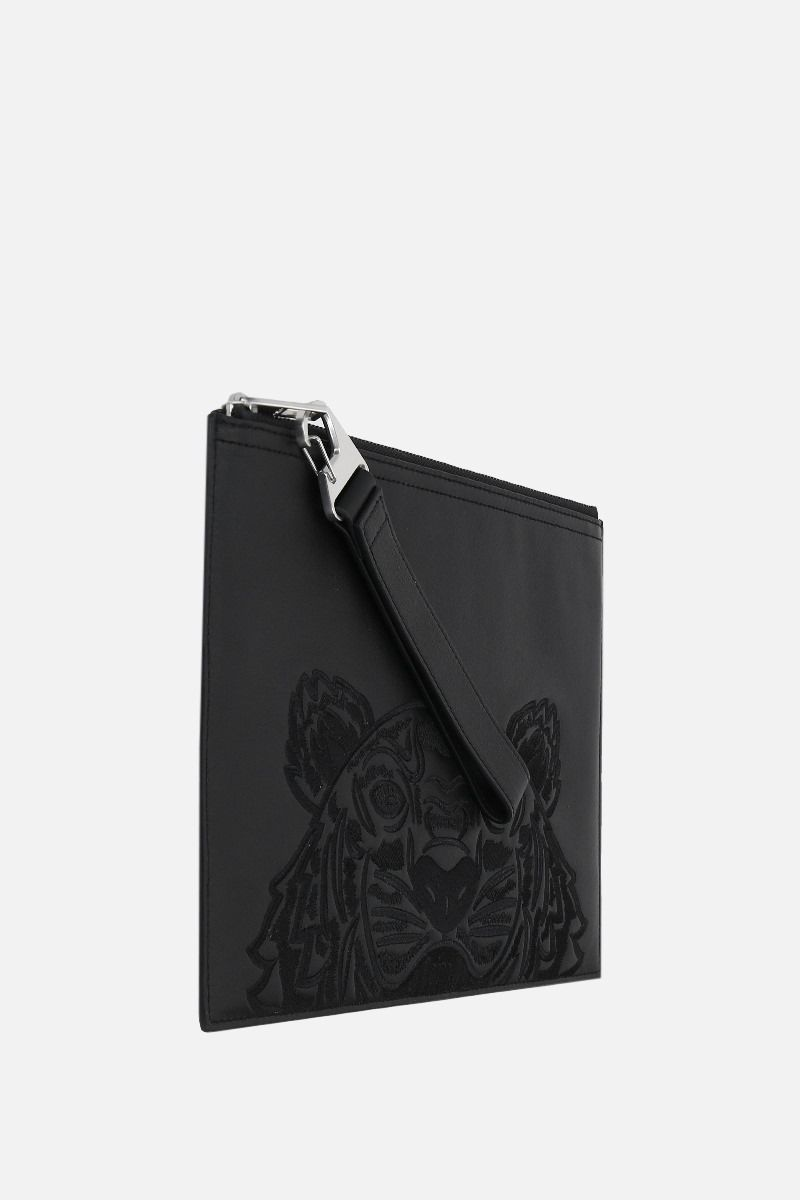 KENZO: Tiger large smooth leather clutch Color Black_2