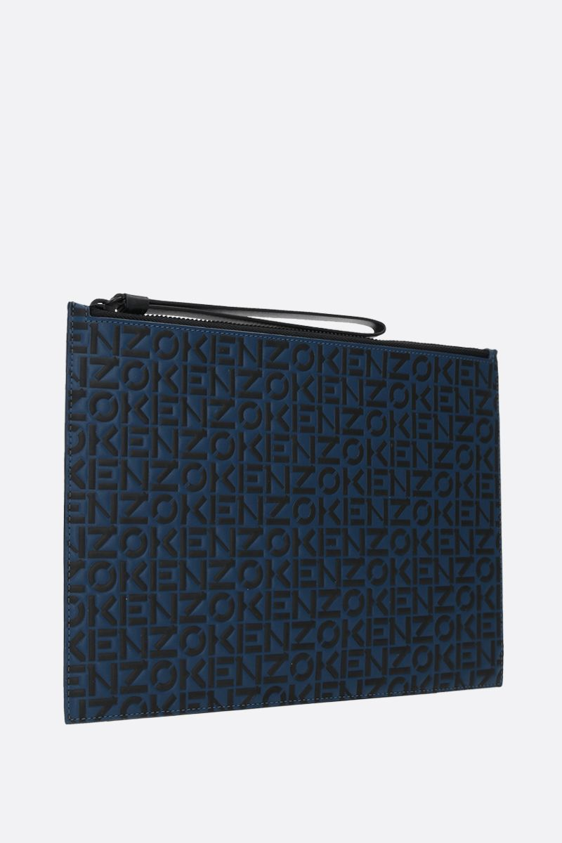 KENZO: Monogram large embossed leather pouch Color Blue_2