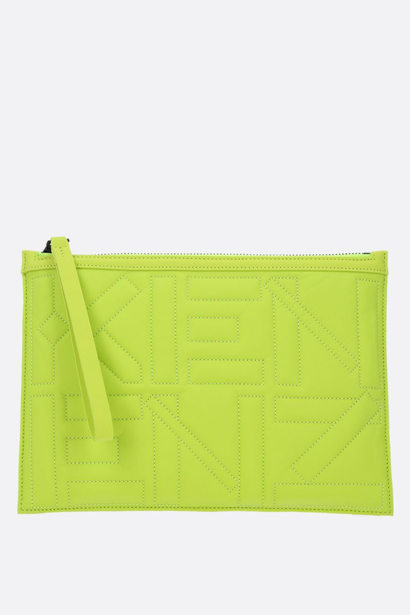 KENZO: Arctik quilted nylon clutch Color Green_1