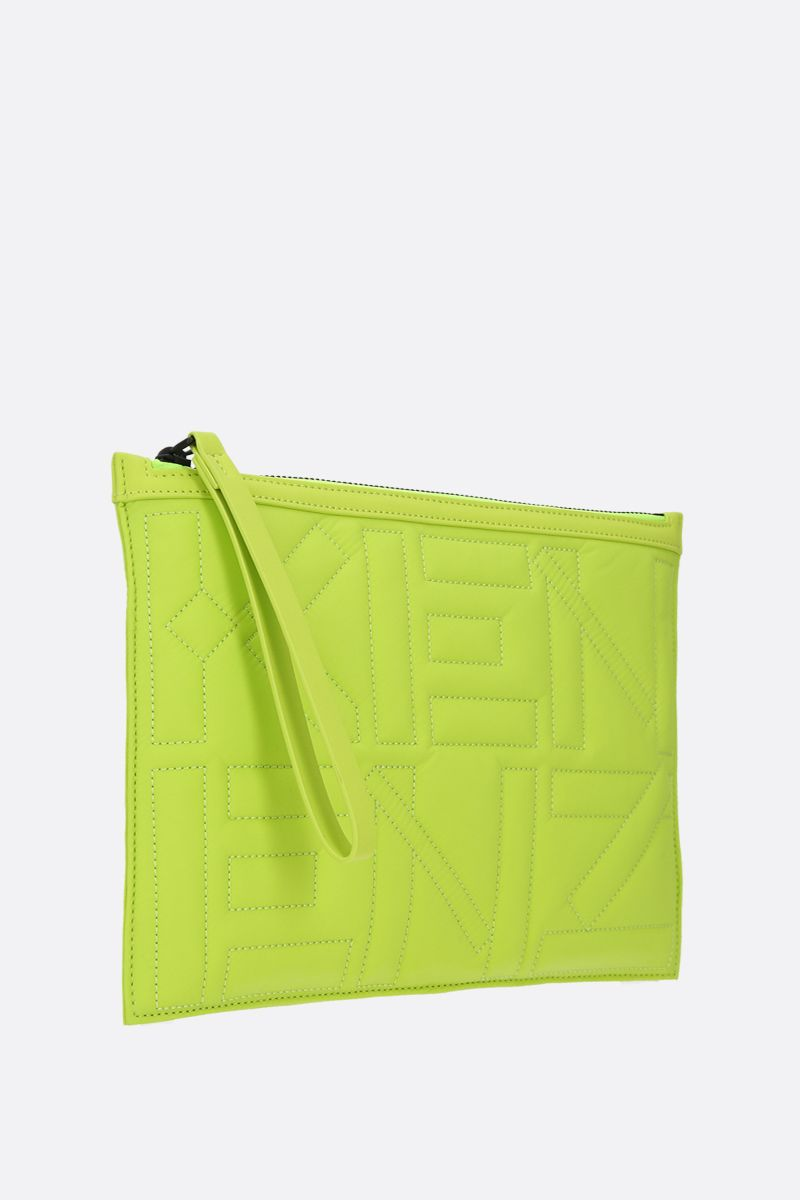 KENZO: Arctik quilted nylon clutch Color Green_2