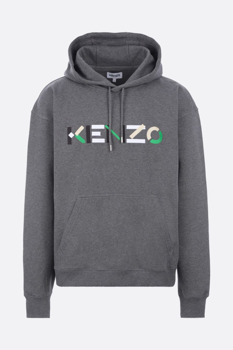 KENZO: logo embroidered oversize organic cotton hoodie Color Grey_1