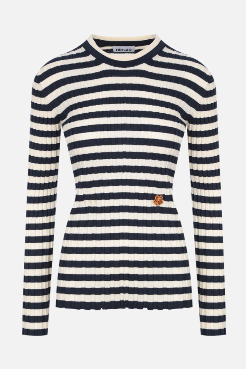 KENZO: Tiger Crest striped ribbed cotton pullover Color Neutral_1