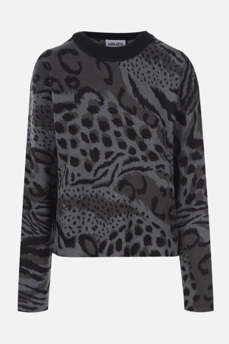 KENZO: Cheetah Leopard cotton wool blend pullover Color Grey_1