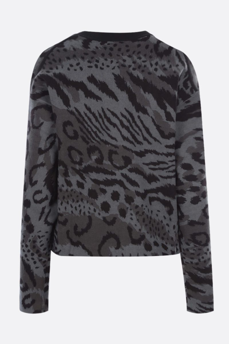 KENZO: Cheetah Leopard cotton wool blend pullover Color Grey_2