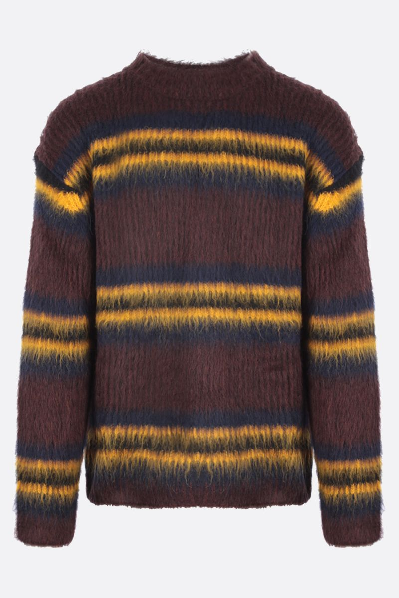 KENZO: oversize striped alpaca blend pullover Color Brown_1