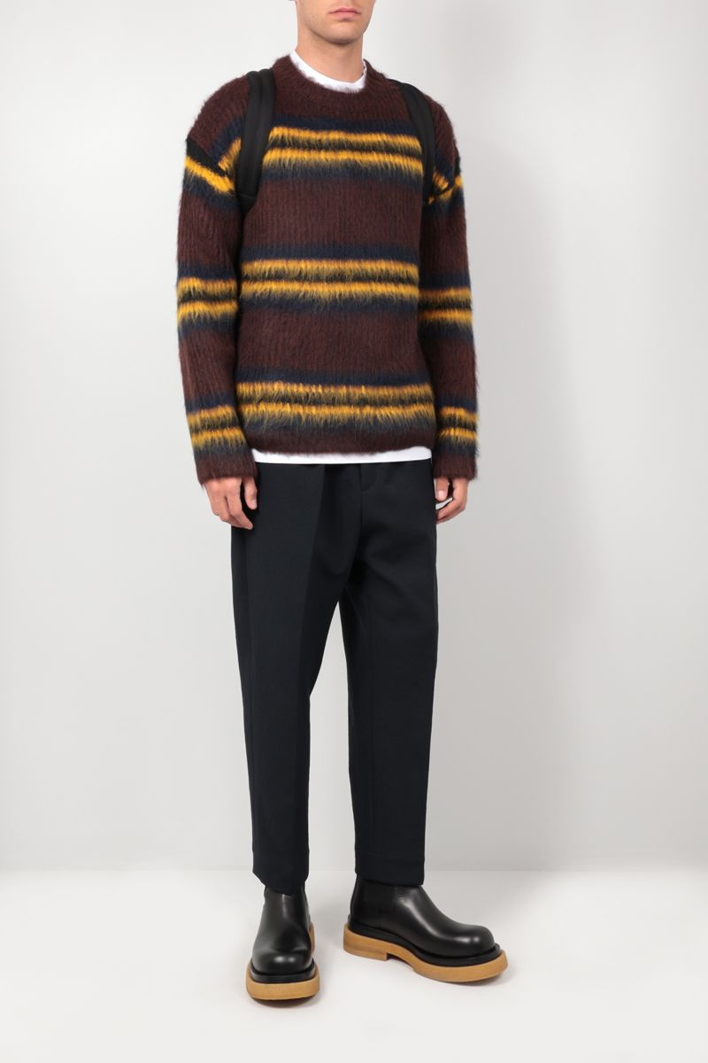 KENZO: oversize striped alpaca blend pullover Color Brown_2