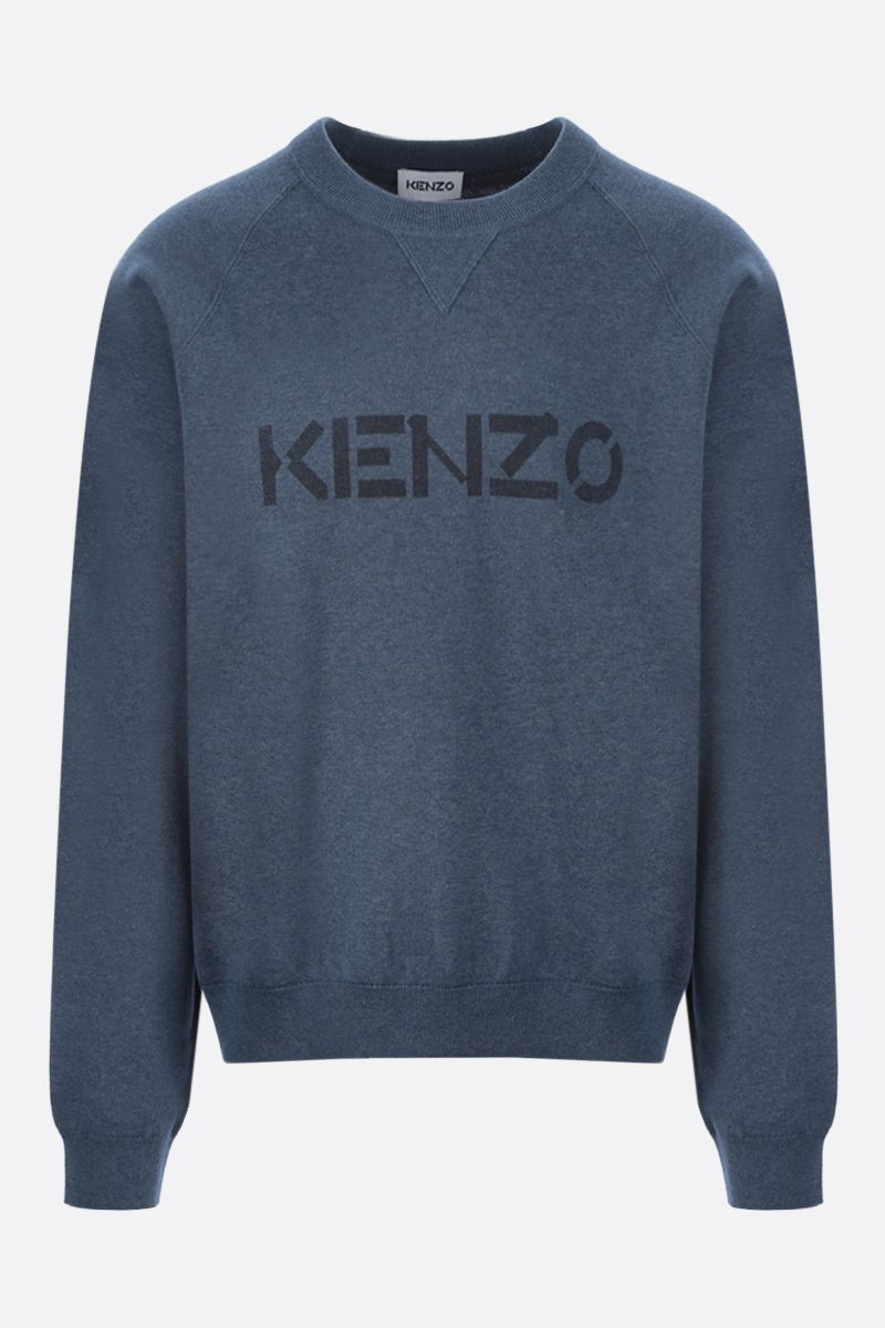KENZO: logo print wool cotton blend pullover Color Blue_1