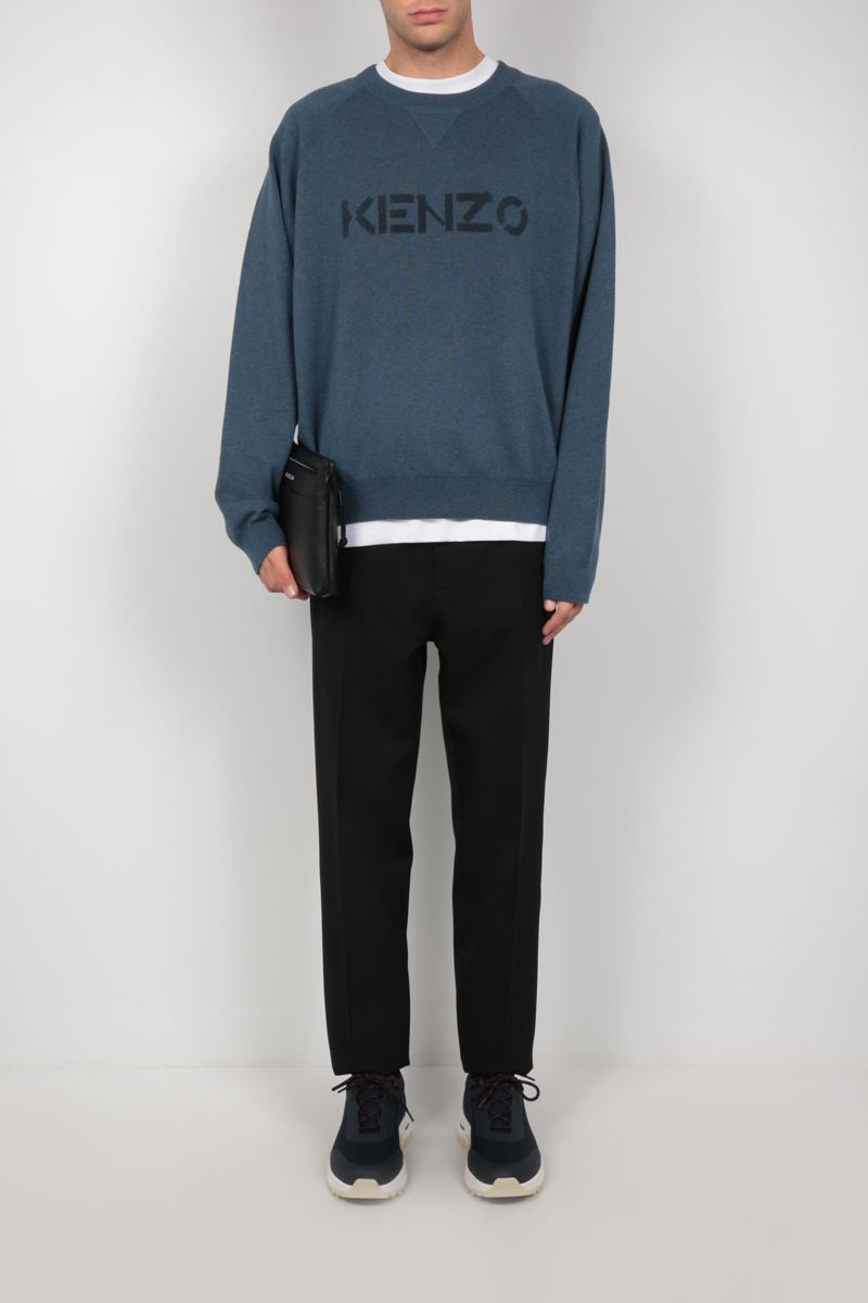 KENZO: logo print wool cotton blend pullover Color Blue_2