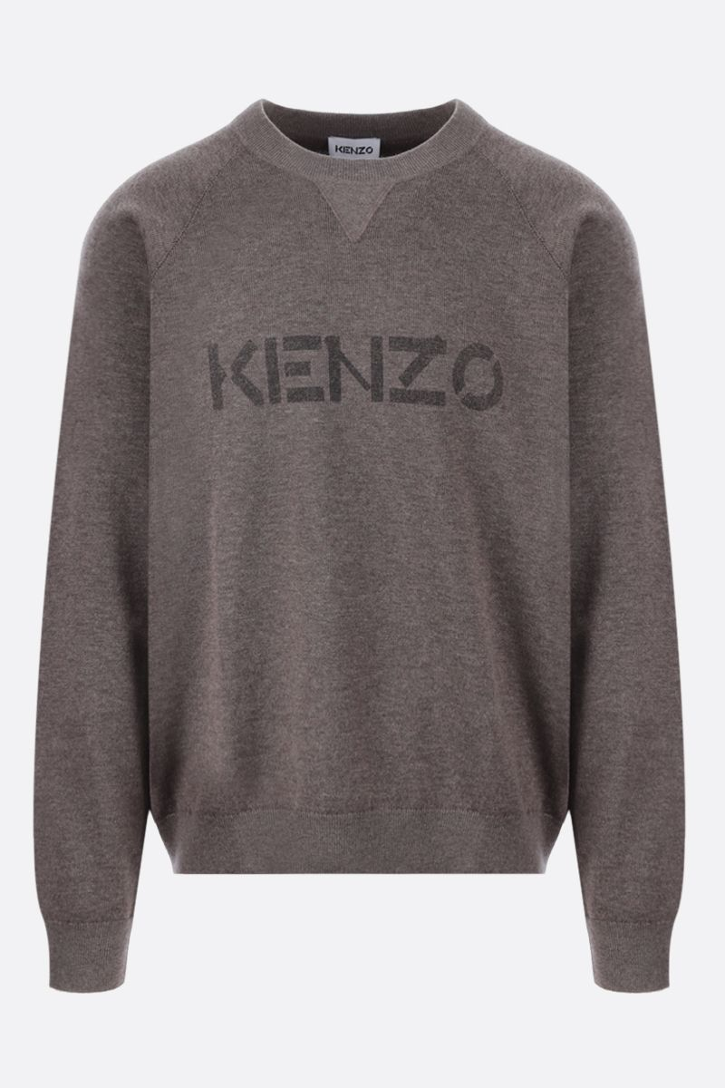 KENZO: logo print wool cotton blend pullover Color Green_1