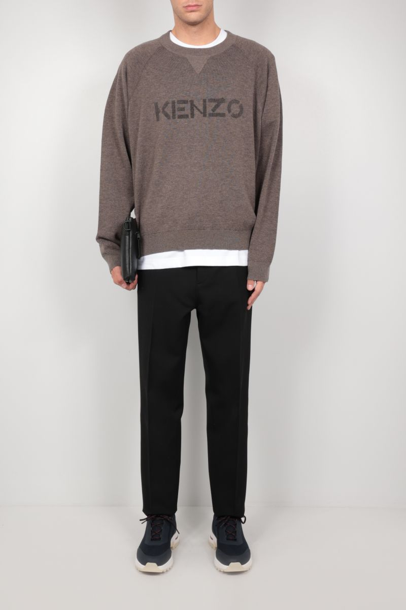 KENZO: logo print wool cotton blend pullover Color Green_2