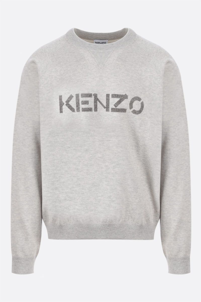 KENZO: logo print wool cotton blend pullover Color Grey_1