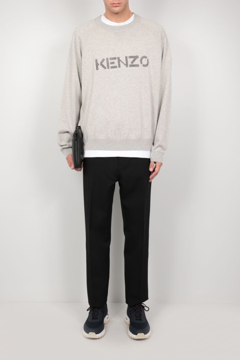 KENZO: logo print wool cotton blend pullover Color Grey_2