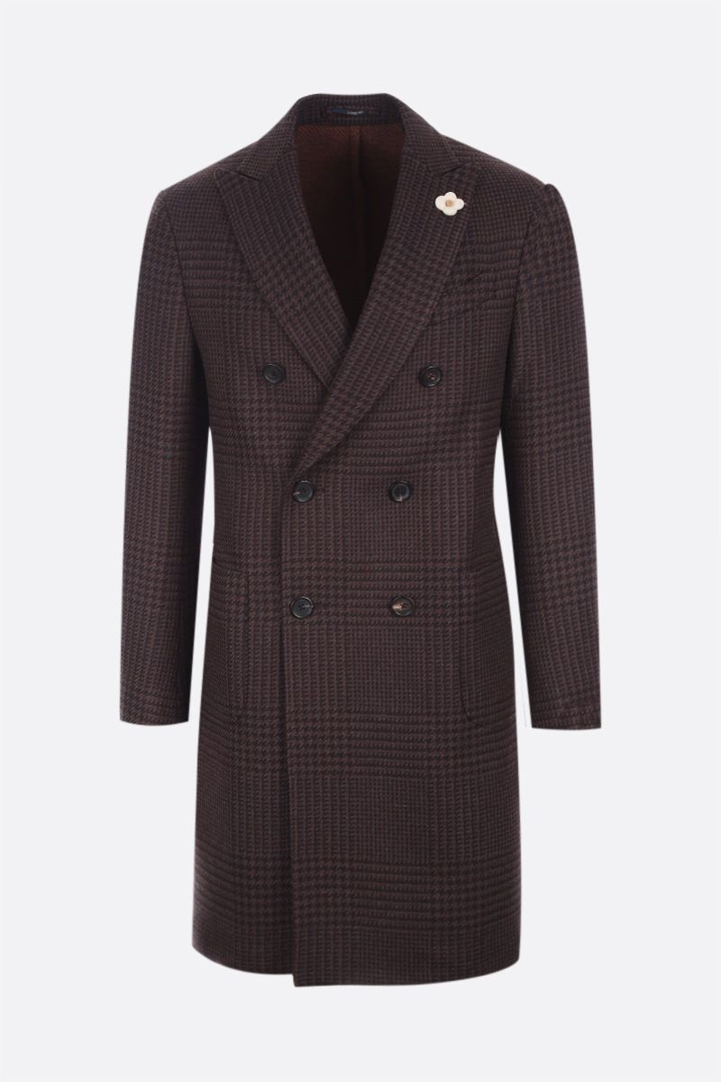 LARDINI: double-breasted Prince of Wales wool coat Color Brown_1
