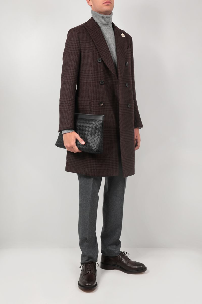 LARDINI: double-breasted Prince of Wales wool coat Color Brown_2