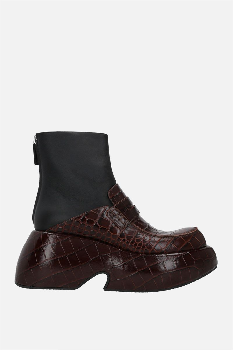 LOEWE: croc-embossed leather and smooth leather wedge loafer boot Color Brown_1