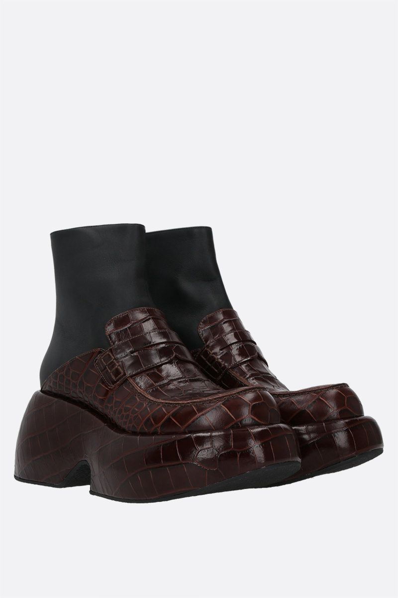 LOEWE: croc-embossed leather and smooth leather wedge loafer boot Color Brown_2