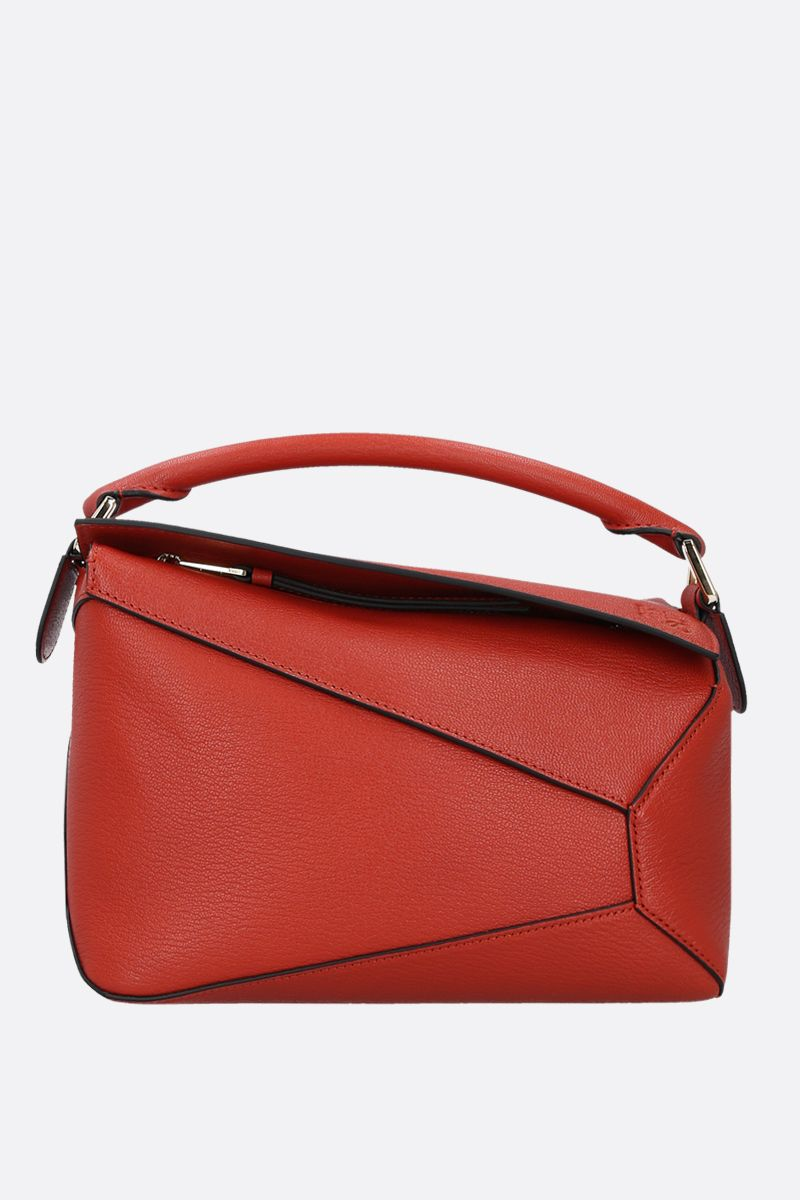 LOEWE: Puzzle Edge small grainy leather handbag Color Red_1