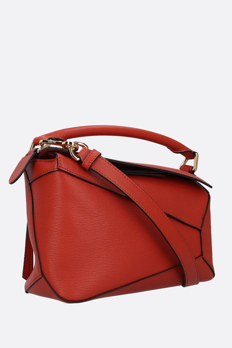 LOEWE: Puzzle Edge small grainy leather handbag Color Red_2
