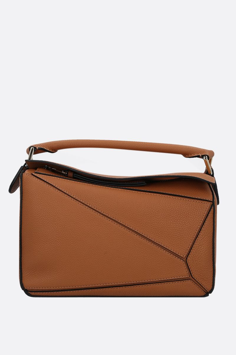 LOEWE: Puzzle small grainy leather handbag Color Brown_1