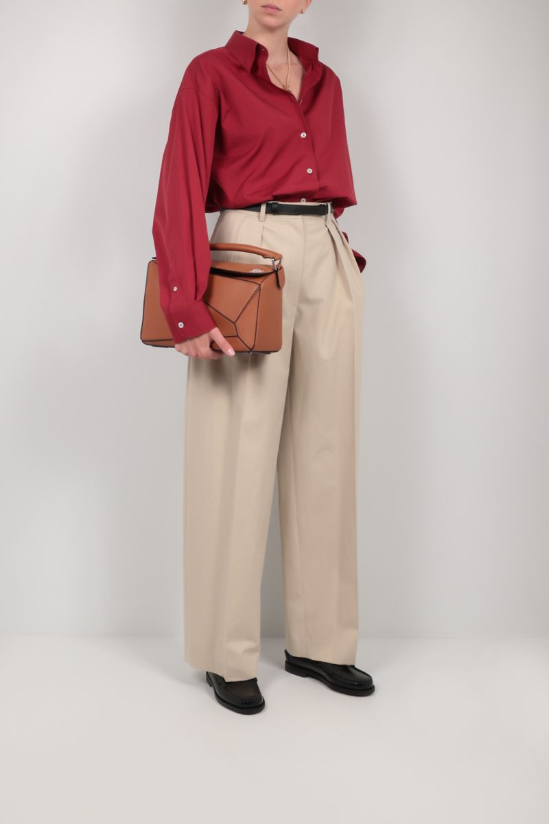 LOEWE: Puzzle small grainy leather handbag Color Brown_2