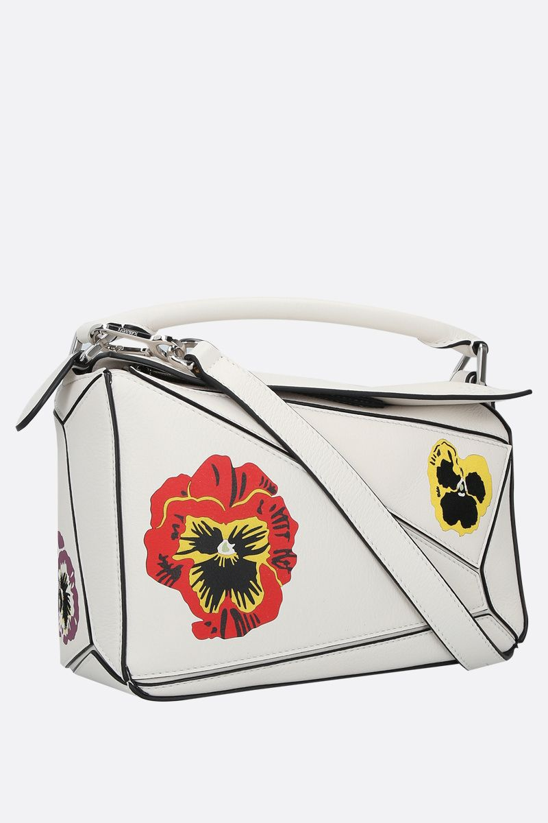 LOEWE: Pansies Puzzle small handbag in Classic leather Color White_2