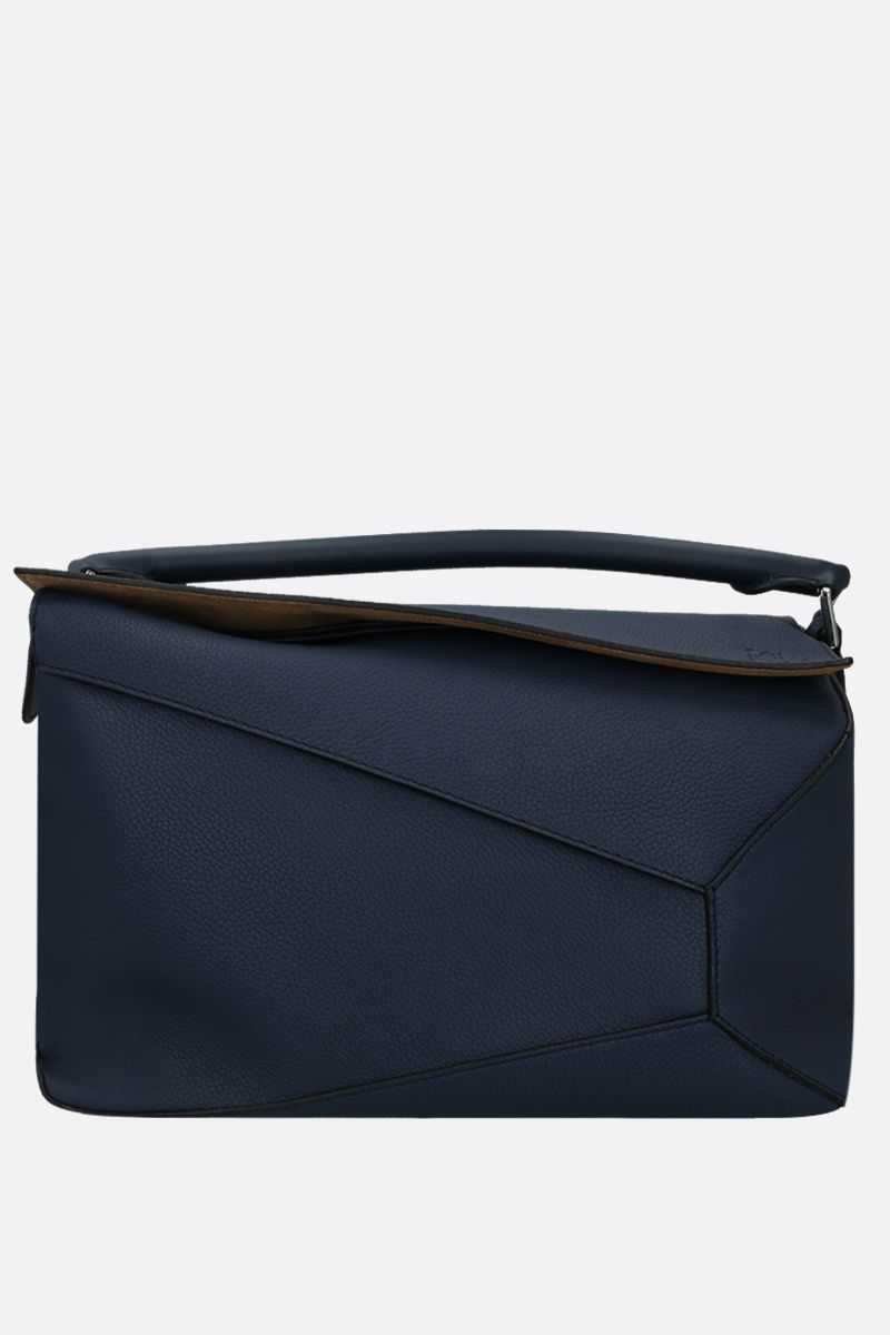 LOEWE: Puzzle large grainy leather top handle bag Color Blue_1