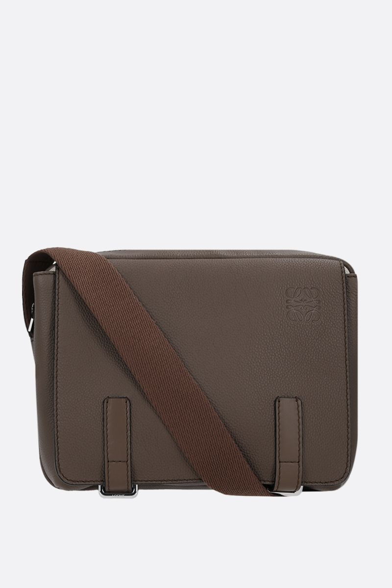 LOEWE: Military XS grainy leather messenger bag Color Green_1
