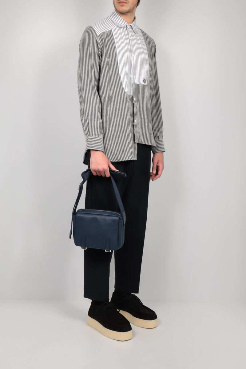 LOEWE: Military XS grainy leather messenger bag Color Blue_2