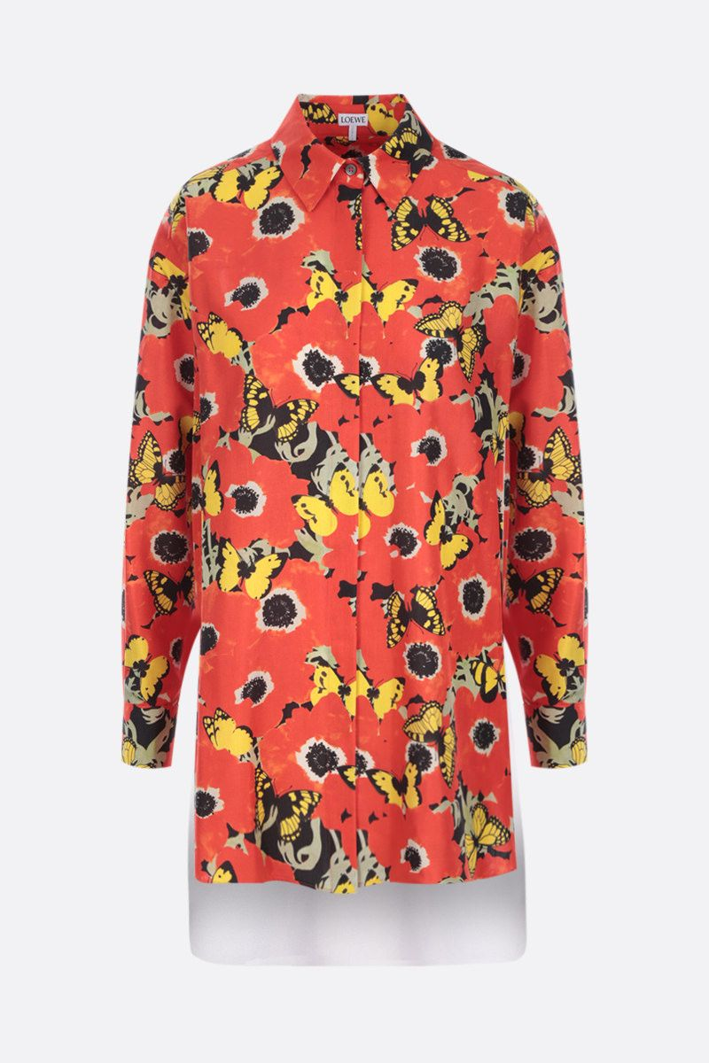 LOEWE: Pansies oversize shirt in silk and cotton Color Red_1
