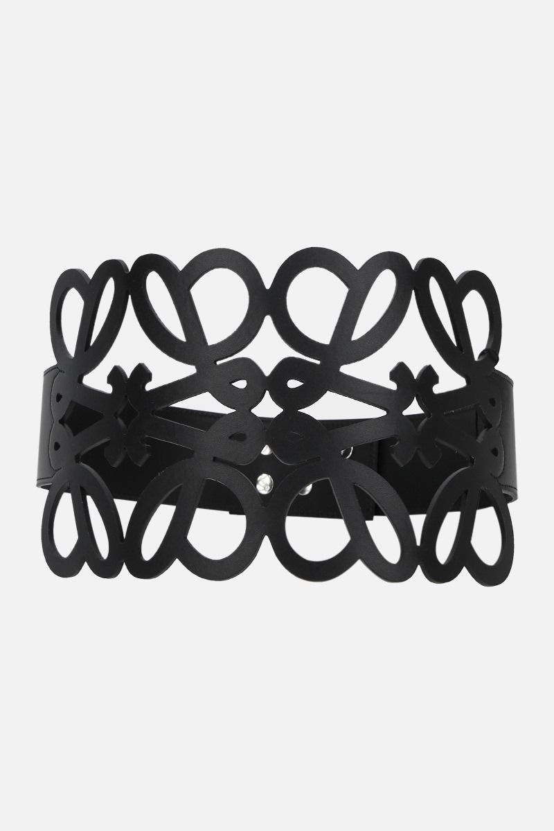 LOEWE: Anagram cut-out smooth leather belt Color Black_1