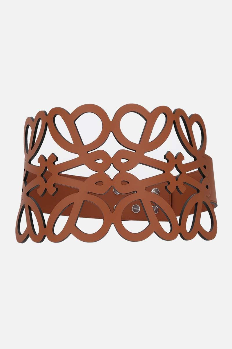 LOEWE: Anagram cut-out smooth leather belt Color Brown_1