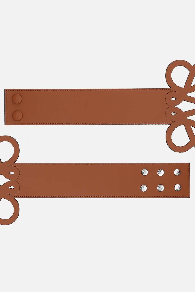 LOEWE: Anagram cut-out smooth leather belt Color Brown_2