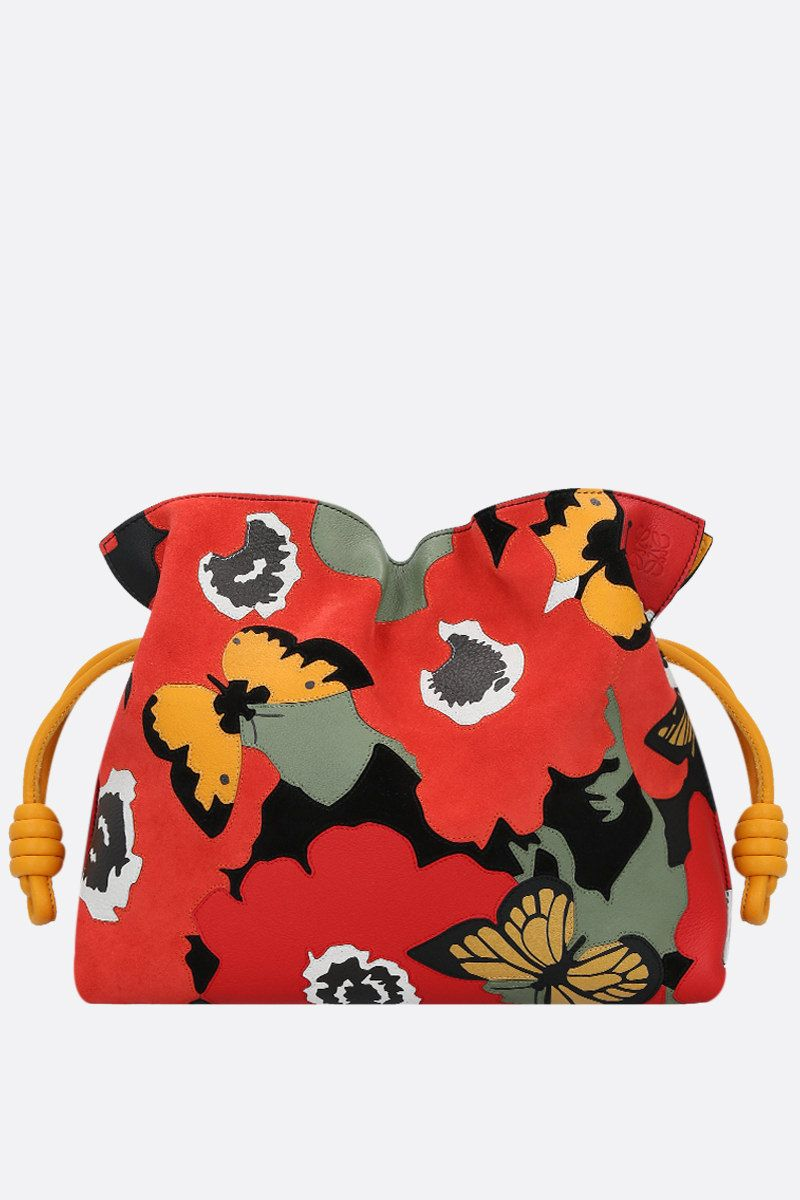 LOEWE: Pansies Flamenco nappa and suede clutch Color Multicolor_1