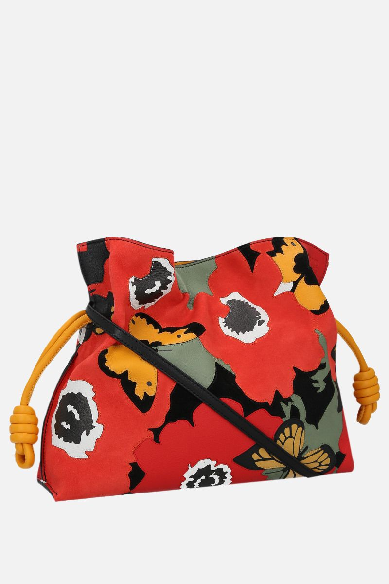 LOEWE: Pansies Flamenco nappa and suede clutch Color Multicolor_2