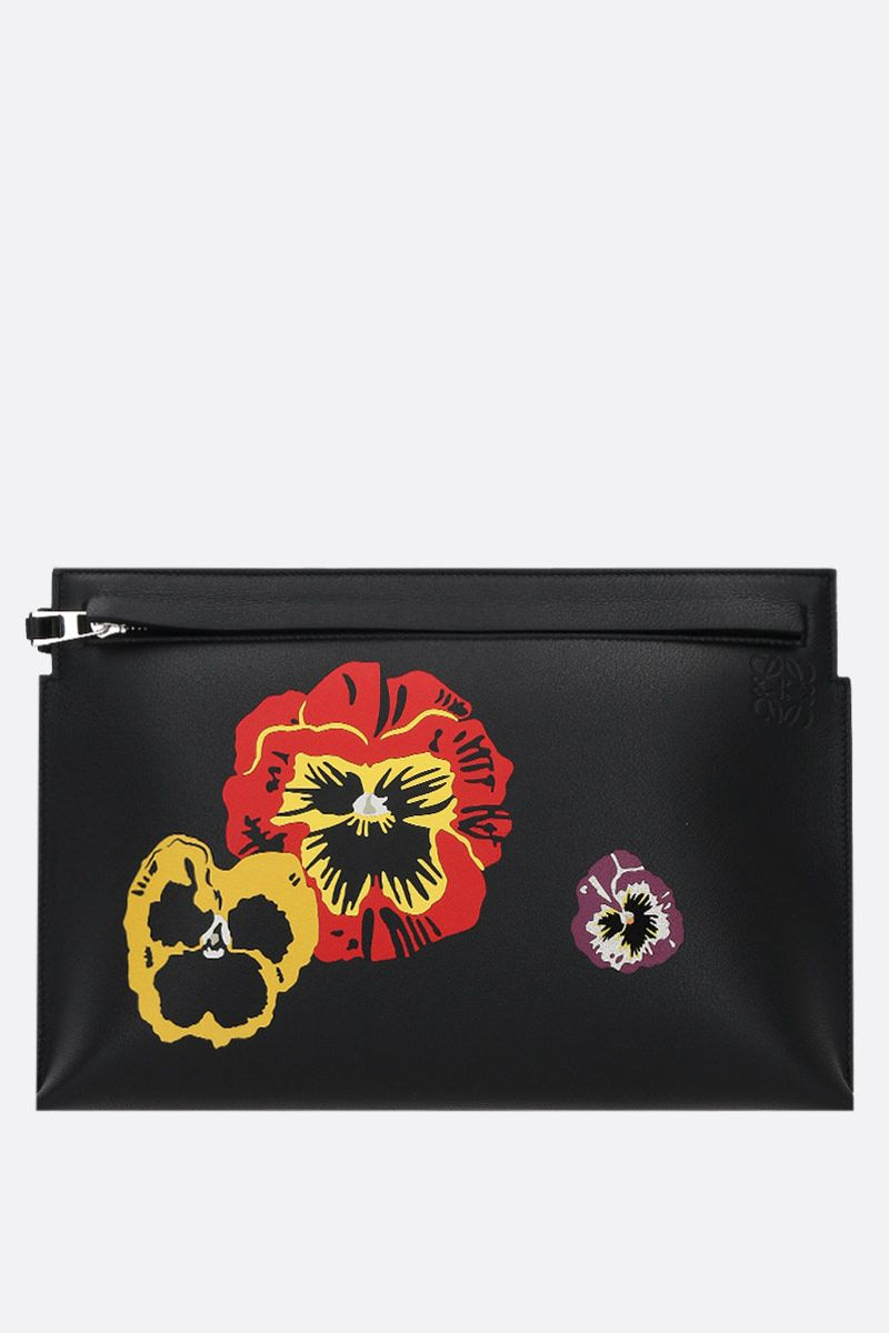 LOEWE: Pansies T clutch in Classic leather Color Black_1