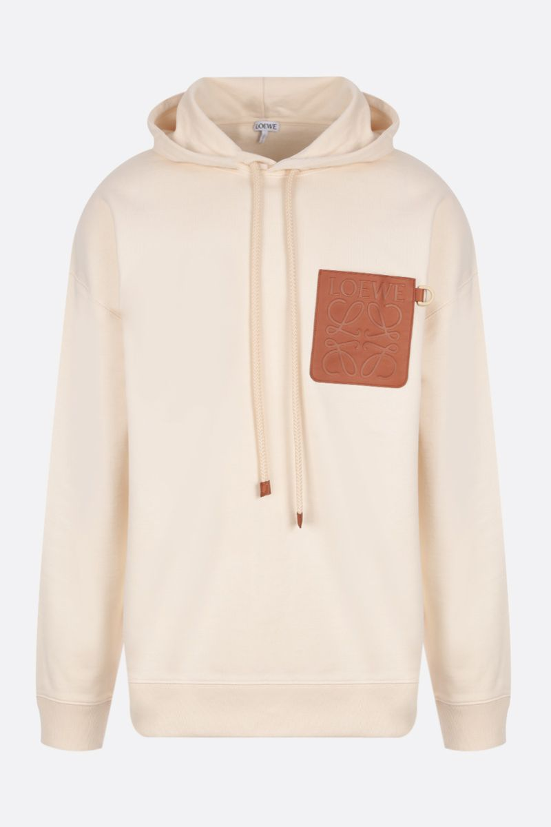 LOEWE: Anagram patch cotton hoodie Color White_1