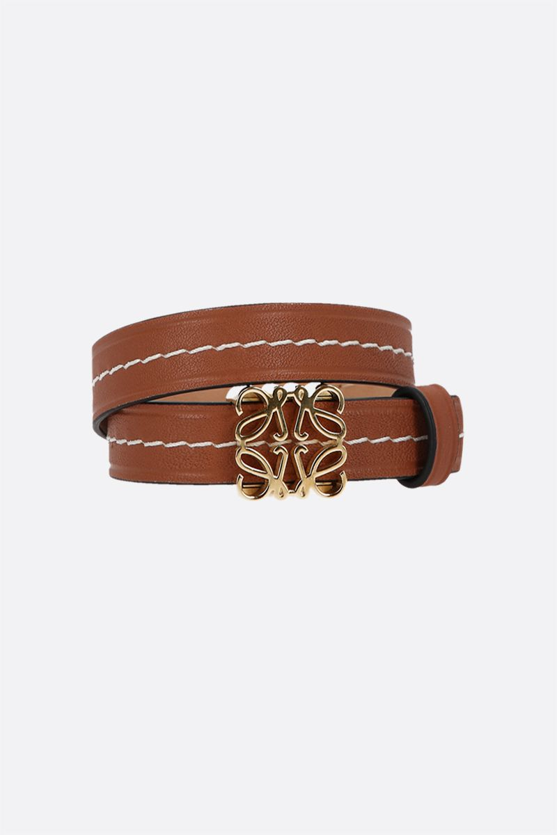 LOEWE: Anagram smooth leather double-wrap bracelet Color Gold_1
