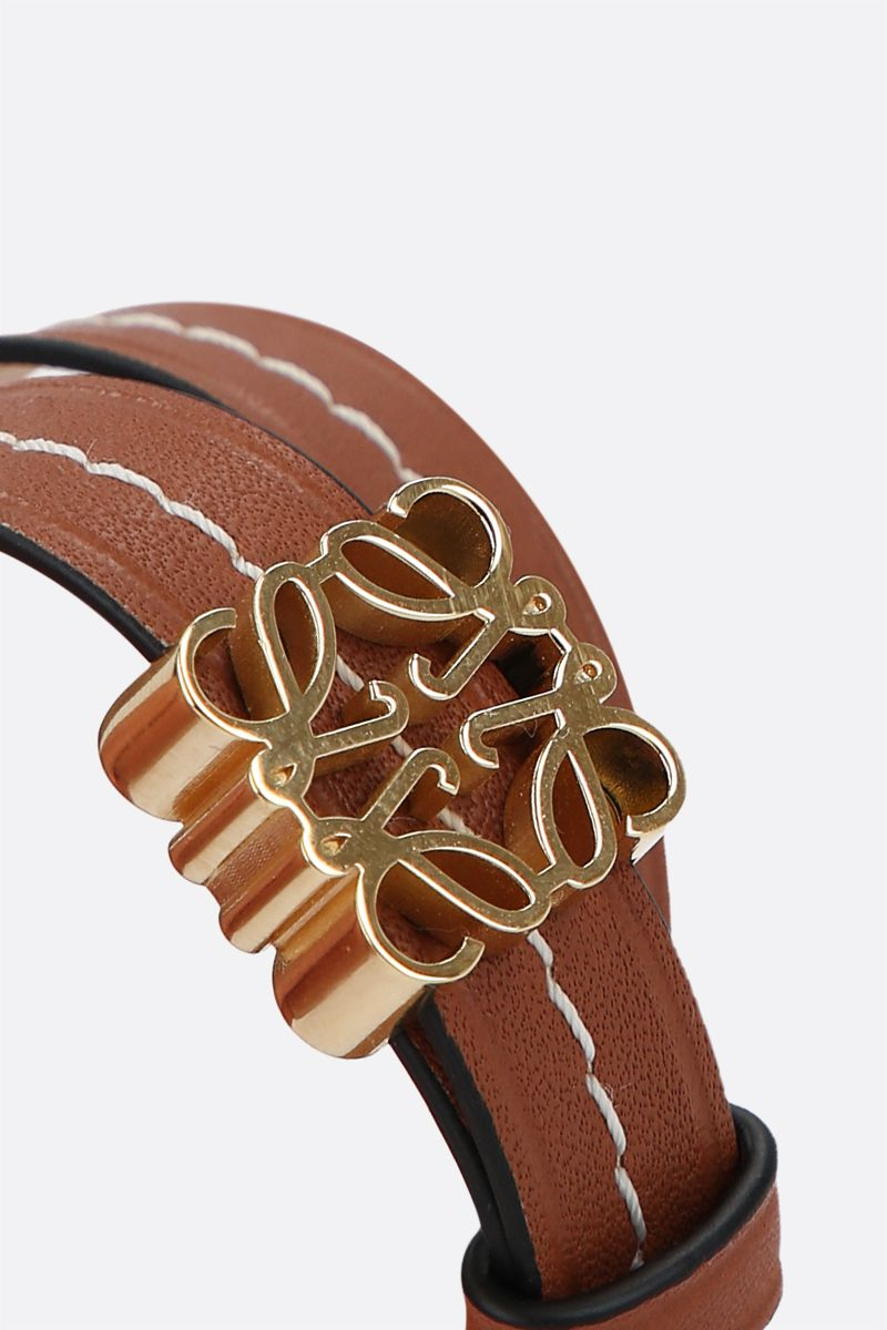 LOEWE: Anagram smooth leather double-wrap bracelet Color Gold_2