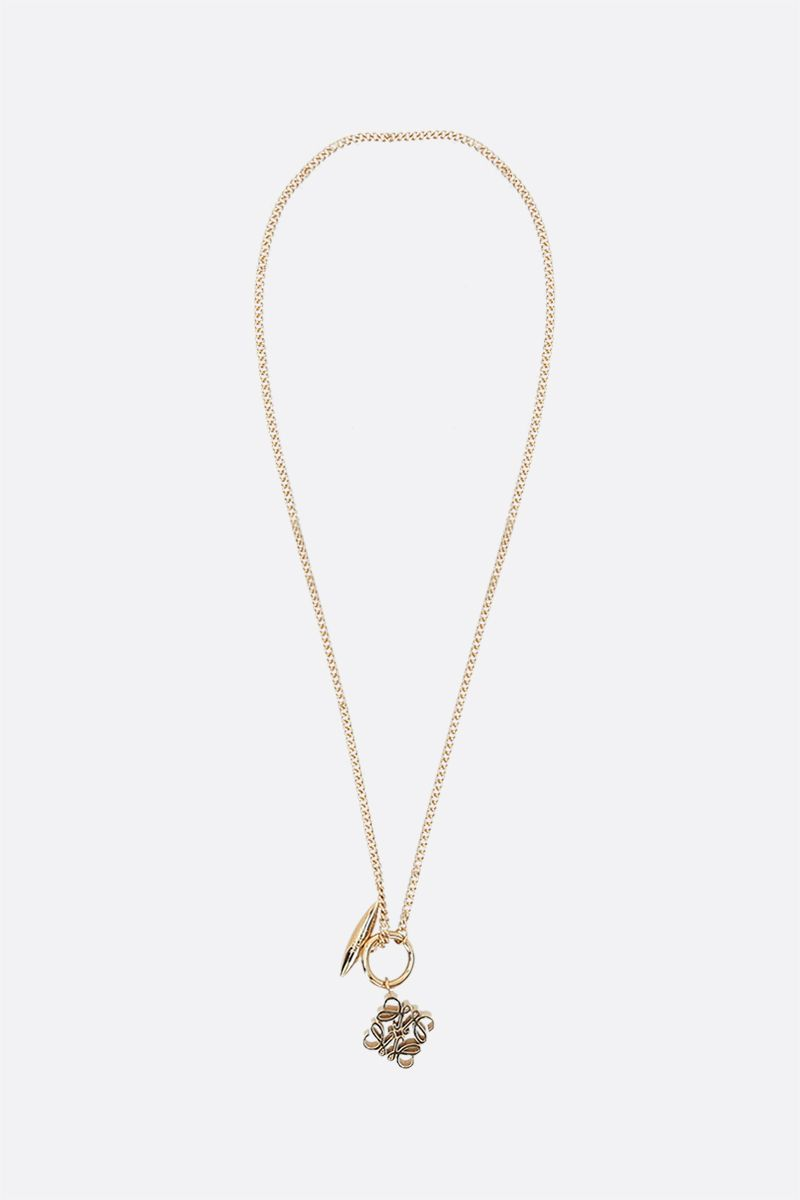 LOEWE: Anagram pendant-detailed brass necklace Color Gold_1