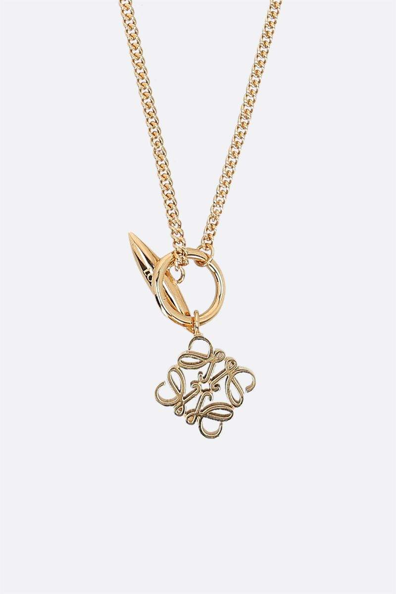 LOEWE: Anagram pendant-detailed brass necklace Color Gold_2