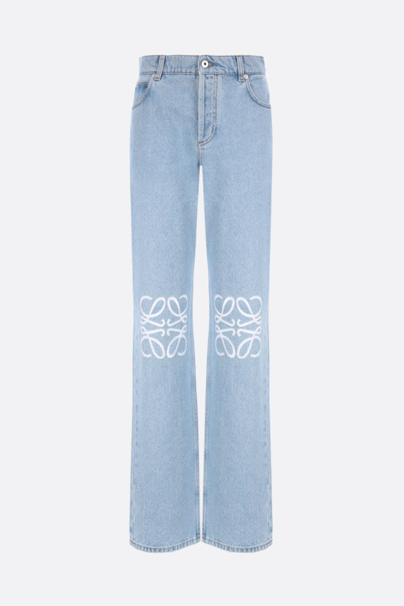 LOEWE: Anagram cut-out straight-leg jeans Color Blue_1