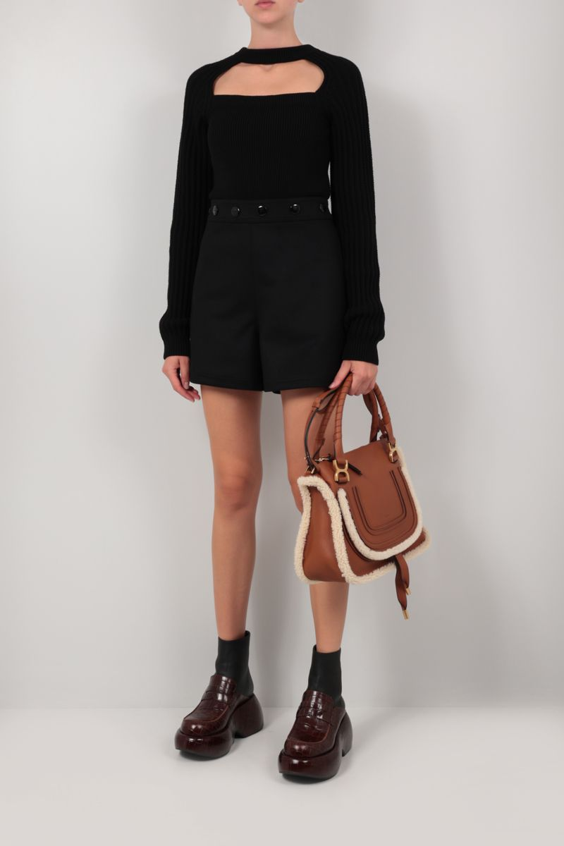 LOEWE: buttoned wool shorts Color Black_2