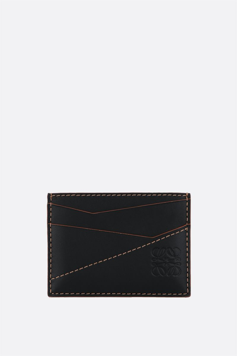 LOEWE: Puzzle smooth leather card holder Color Black_1