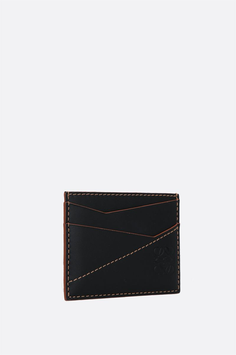 LOEWE: Puzzle smooth leather card holder Color Black_2