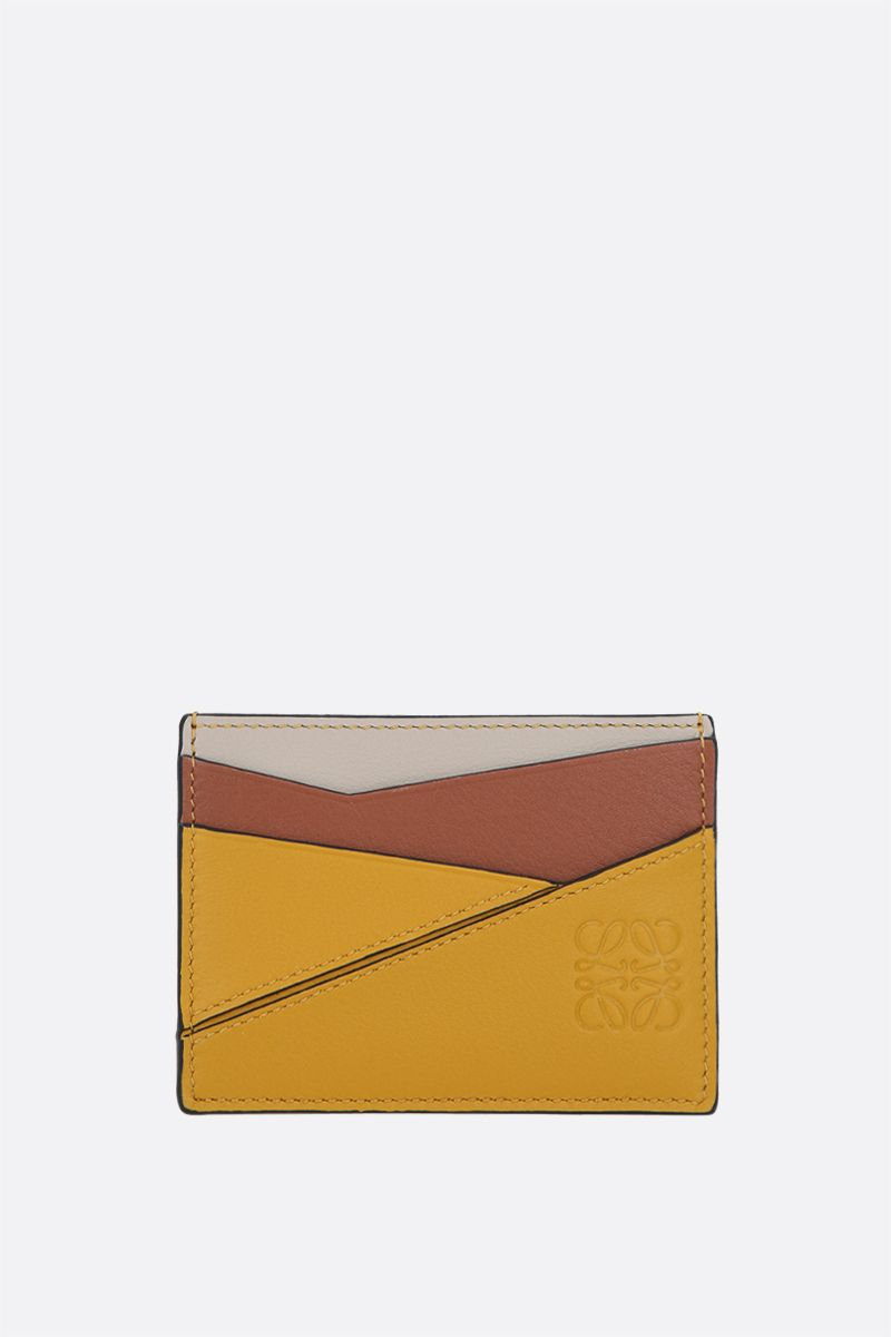 LOEWE: Puzzle card case in Classic leather Color Yellow_1